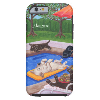 Personalized Pool Party Labradors 2 Tough iPhone 6 Case