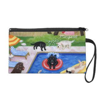 Personalized Pool Party Labradors Wristlet