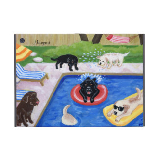 Personalized Pool Party Labradors Fun Painting Case For iPad Mini