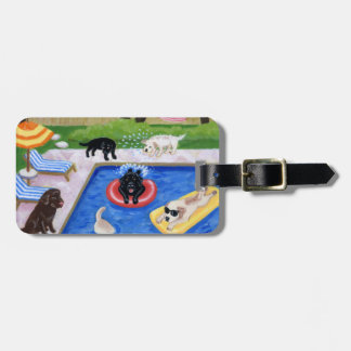 Personalized Pool Party Labradors Luggage Tag