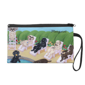 Personalized Poolside Party Labradors Wristlet Purses