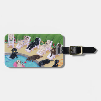Personalized Poolside Party Labradors Bag Tags