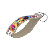 Personalized Pop Art Retro Summer Beach Keyring Wrist Keychain