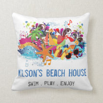 Personalized Pop Art Retro Summer Beach Pillows