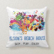 Personalized Pop Art Retro Summer Beach Pillows