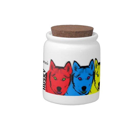Personalized Pop Art Siberian Husky Treat Jar Candy Jar