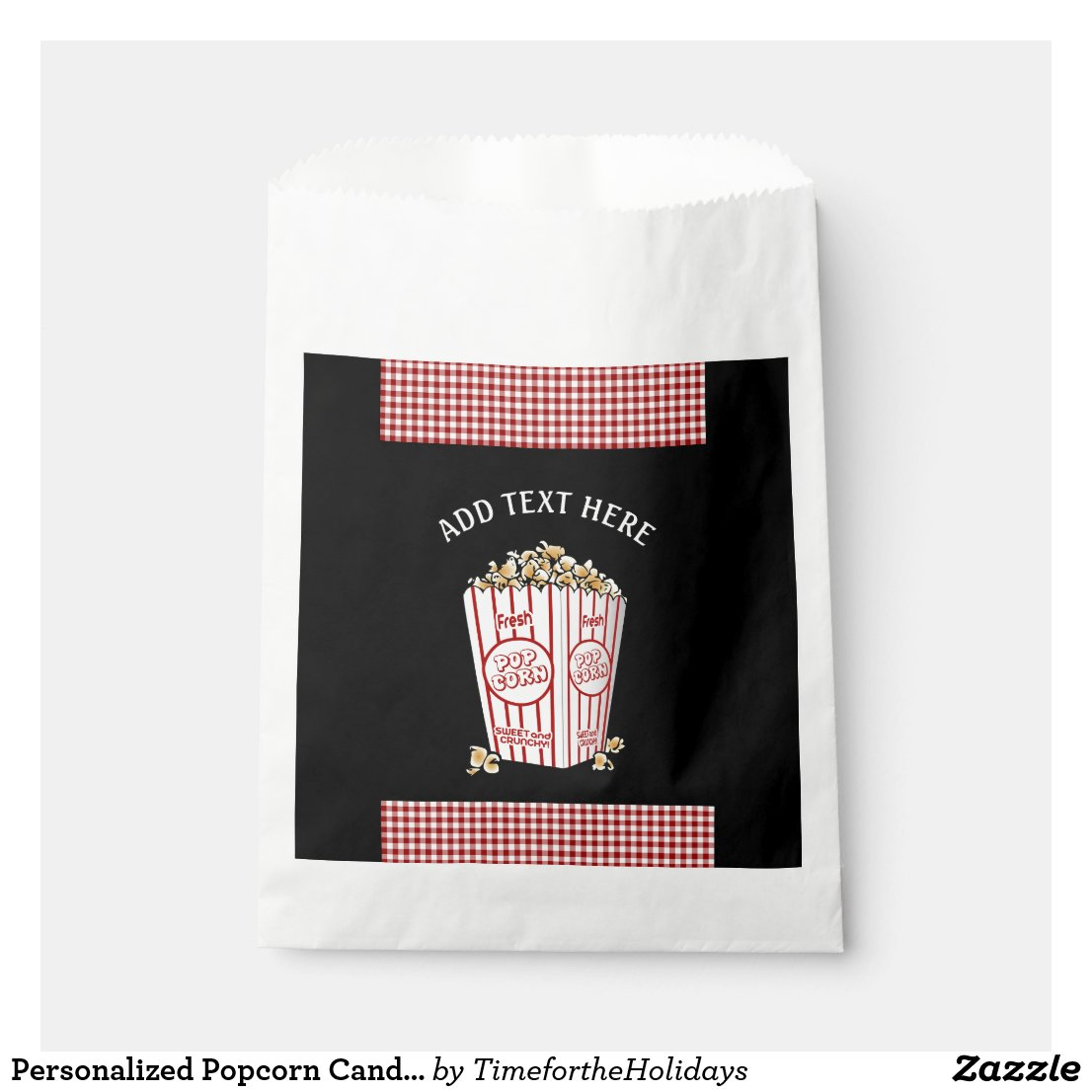 Personalized Popcorn Candy Favor Bags Red Plaid
