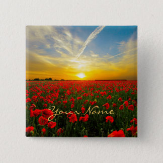 Personalized  Poppy Field Sunset Horizon Button