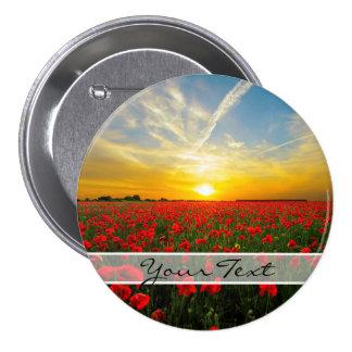 Personalized Poppy Field Sunset Horizon Button