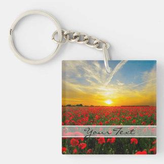 Personalized Poppy Field Sunset Horizon Keychain