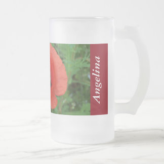 Personalized Poppy Wildflowers Cornwall Frosted Glass Beer Mug