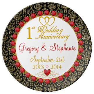 Personalized Porcelain 1st Anniversary Plate