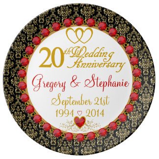Personalized Porcelain 20th Anniversary Plate Porcelain Plate