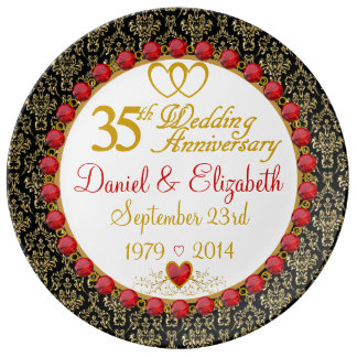 Personalized Porcelain 35th Anniversary Plate