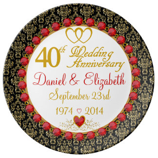 Personalized Porcelain 40th Anniversary Plate Porcelain Plate
