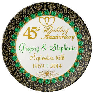 Personalized Porcelain 45th Anniversary Plate Porcelain Plates