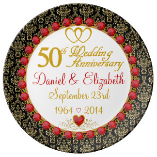 Personalized Porcelain 50th Anniversary Plate Porcelain Plates