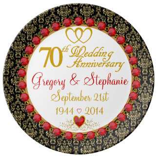 Personalized Porcelain 70th Anniversary Plate Porcelain Plates