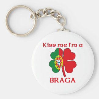 Personalized Portuguese Kiss Me I'm Braga Basic Round Button Keychain