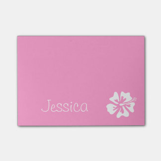 Personalized Post-it® notes | Pink hibiscus flower
