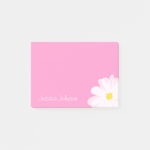 Personalized Post-it® notes Pink with daisy flower