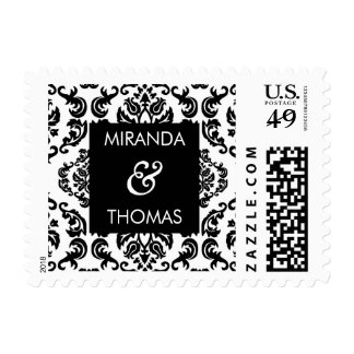 PERSONALIZED POSTAGE STAMP :: damask colors 10
