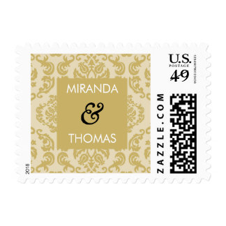 PERSONALIZED POSTAGE STAMP :: damask colors 3