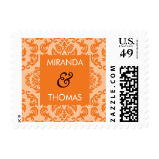 PERSONALIZED POSTAGE STAMP :: damask colors 8