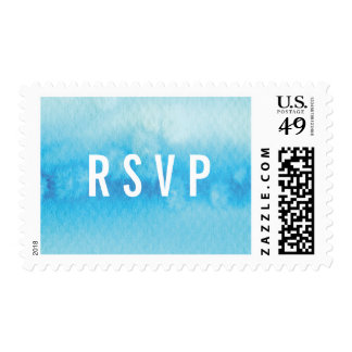 PERSONALIZED POSTAGE STAMP : ombre watercolor blue