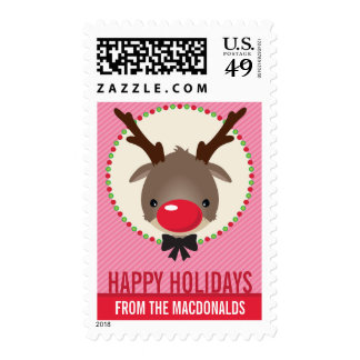 PERSONALIZED POSTAGE STAMPS  :: reindeer