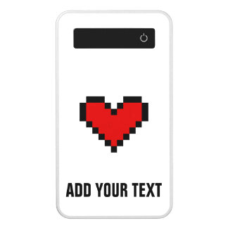 Personalized power bank phone charger with heart