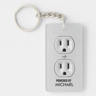Personalized Power Outlet Key-chain Single-Sided Rectangular Acrylic Keychain
