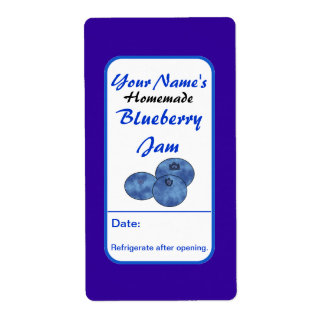 Personalized Preserve Labels Blueberry Jam