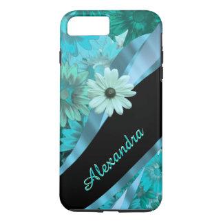 Personalized pretty aqua blue floral pattern iPhone 7 plus case