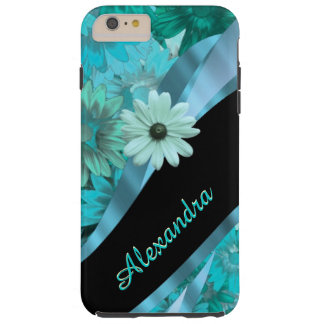 Personalized pretty aqua blue floral pattern tough iPhone 6 plus case