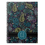 Personalized Pretty as a Peacock Paisley Print Spiral Notebooks