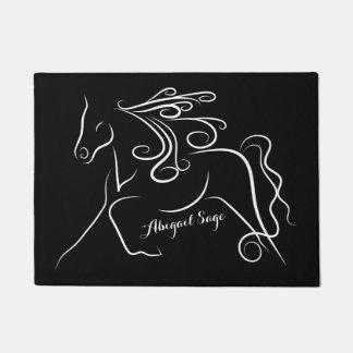 Personalized Pretty Black White Silhouette Horse Doormat