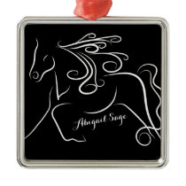Personalized Pretty Black White Silhouette Horse Metal Ornament