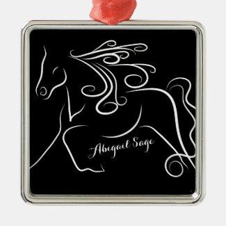 Personalized Pretty Black White Silhouette Horse Square Metal Christmas Ornament