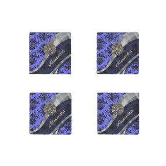 Personalized pretty blue girly damask pattern stone magnet