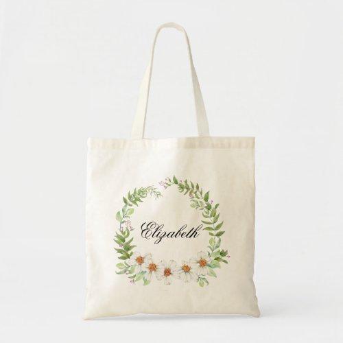 Personalized Pretty Daisy Wreath Bridesmaids Tote Bag