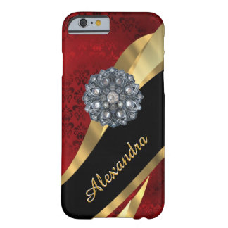 Personalized pretty elegant red damask pattern barely there iPhone 6 case