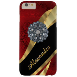 Personalized pretty elegant red damask pattern barely there iPhone 6 plus case