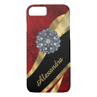 Personalized pretty elegant red damask pattern iPhone 7 case