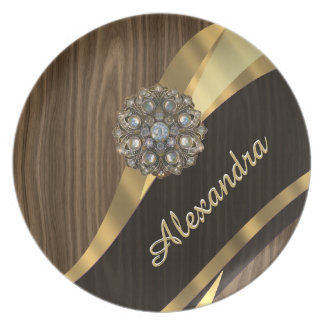 Personalized pretty faux brown wood dinner plate