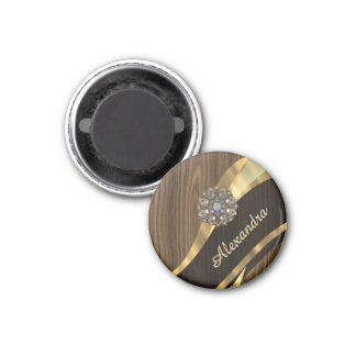 Personalized pretty faux brown wood 1 inch round magnet