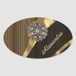 Personalized pretty faux brown wood oval sticker