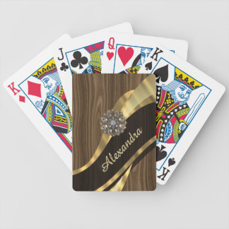 Personalized pretty faux brown wood bicycle playing cards
