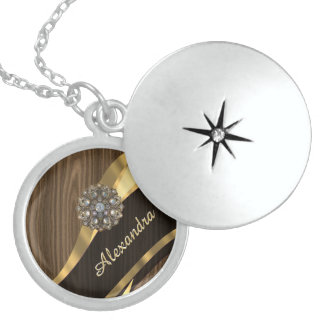 Personalized pretty faux brown wood round locket necklace