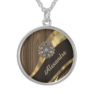 Personalized pretty faux brown wood round pendant necklace